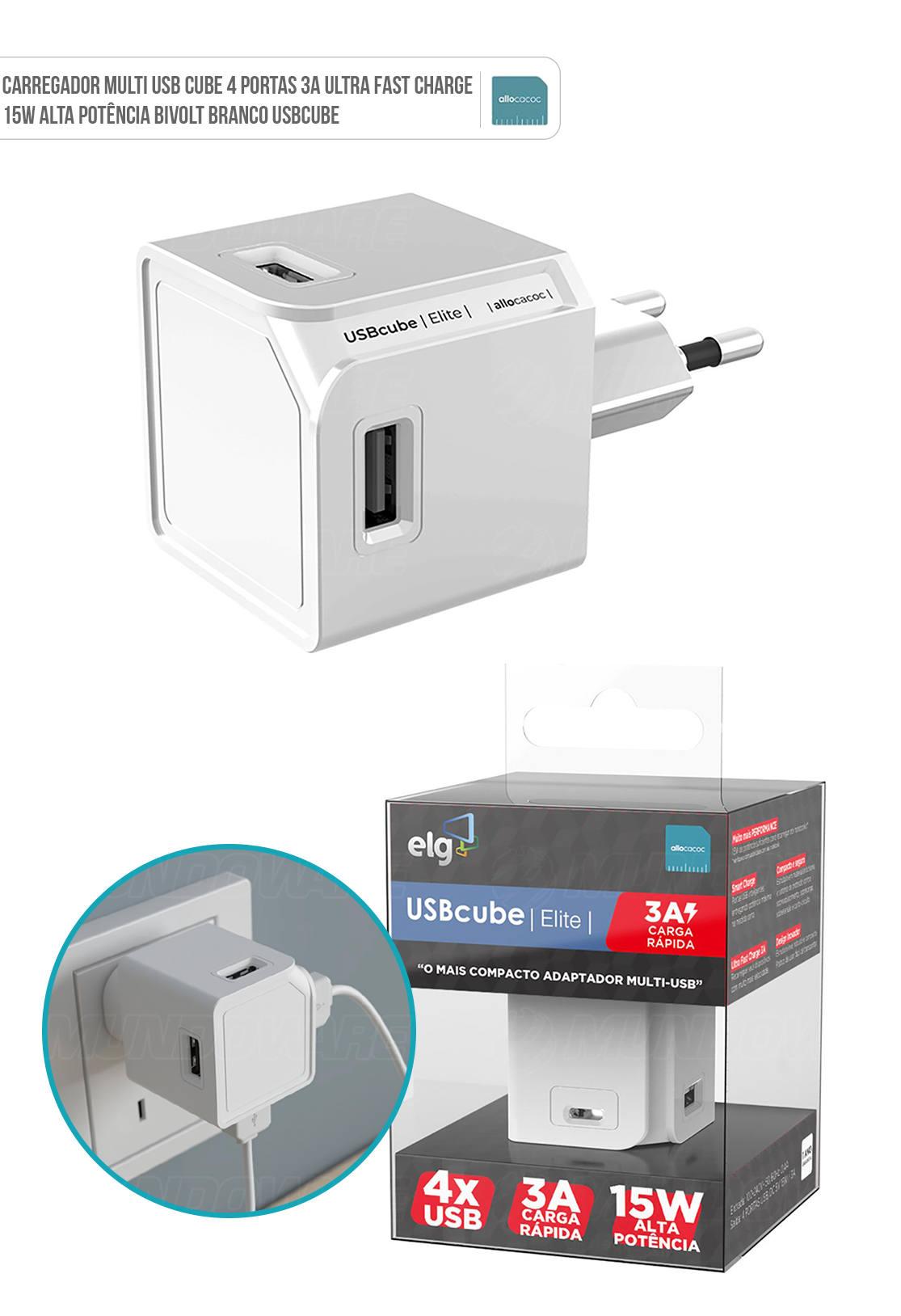 Carregador Multi USB Cube 4 Portas 3A Ultra Fast Charge 15W Alta Potência Bivolt Branco USBCube