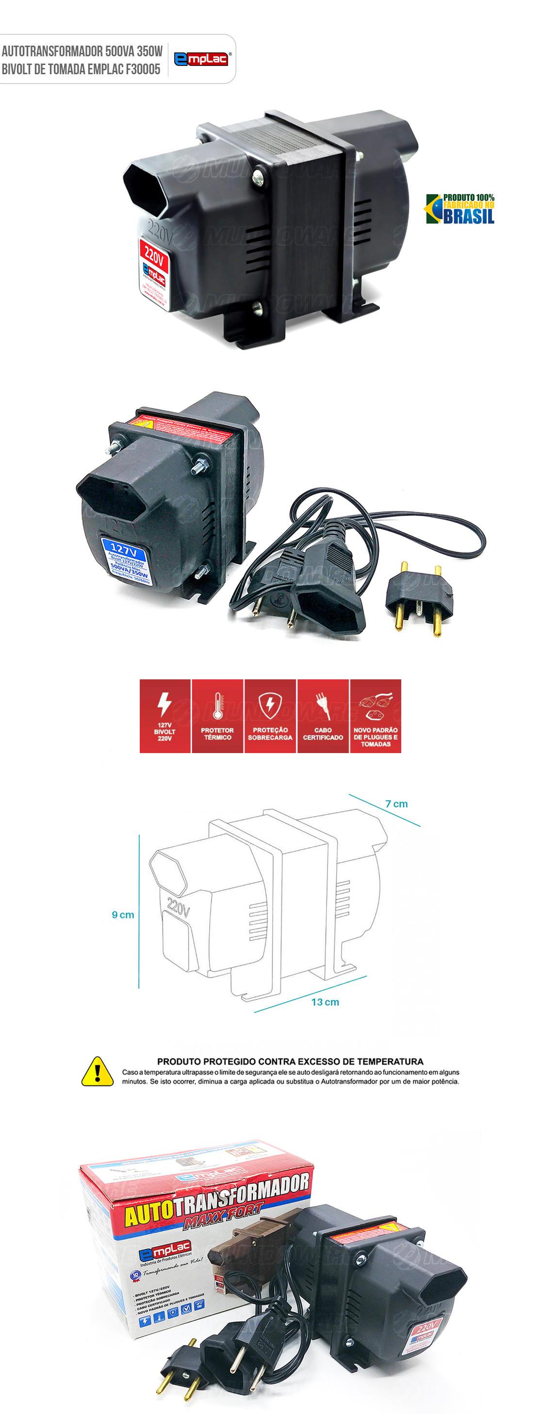 Auto transformador de tomada 500VA 350W Bivolt com Protetor Térmico e Proteção contra sobrecarga
