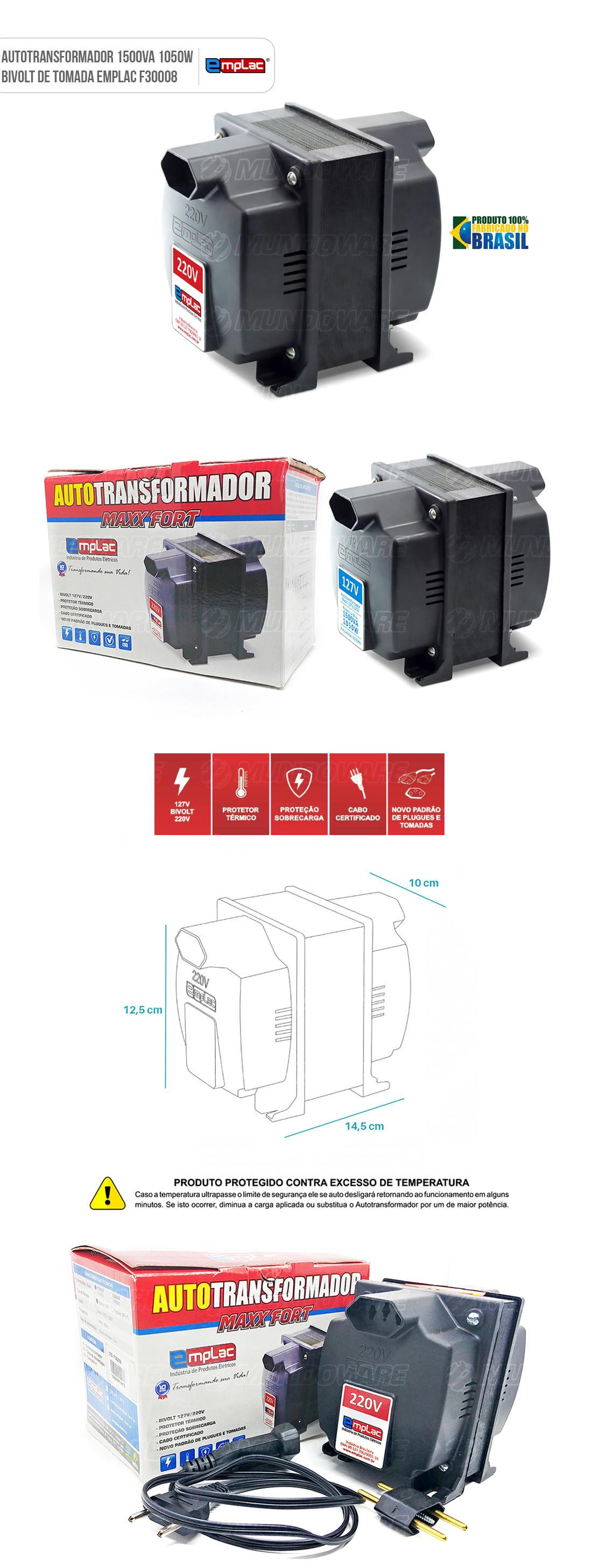 Auto transformador de tomada 1500VA 1050W Bivolt com Protetor Térmico e Proteção contra sobrecarga