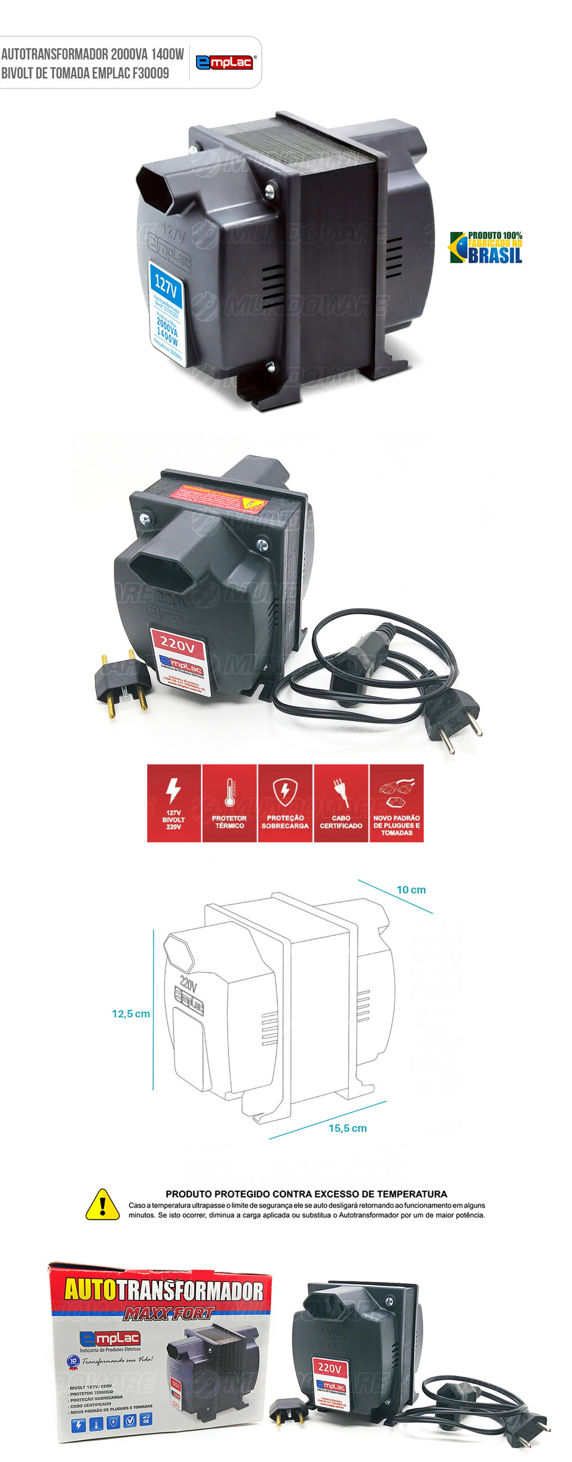 Auto transformador de tomada 2000VA 1400W Bivolt com Protetor Térmico e Proteção contra sobrecarga