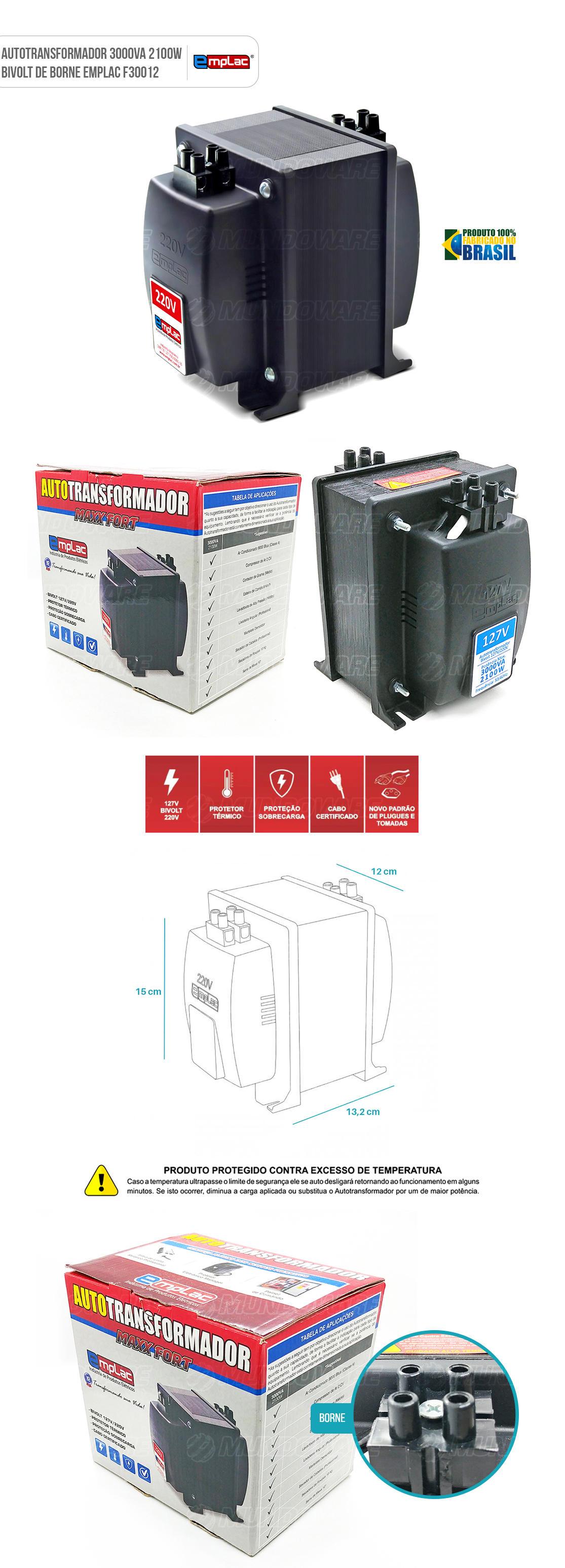 Auto transformador de barra de borne 3000VA 2100W Bivolt com Protetor Térmico e Proteção contra sobrecarga