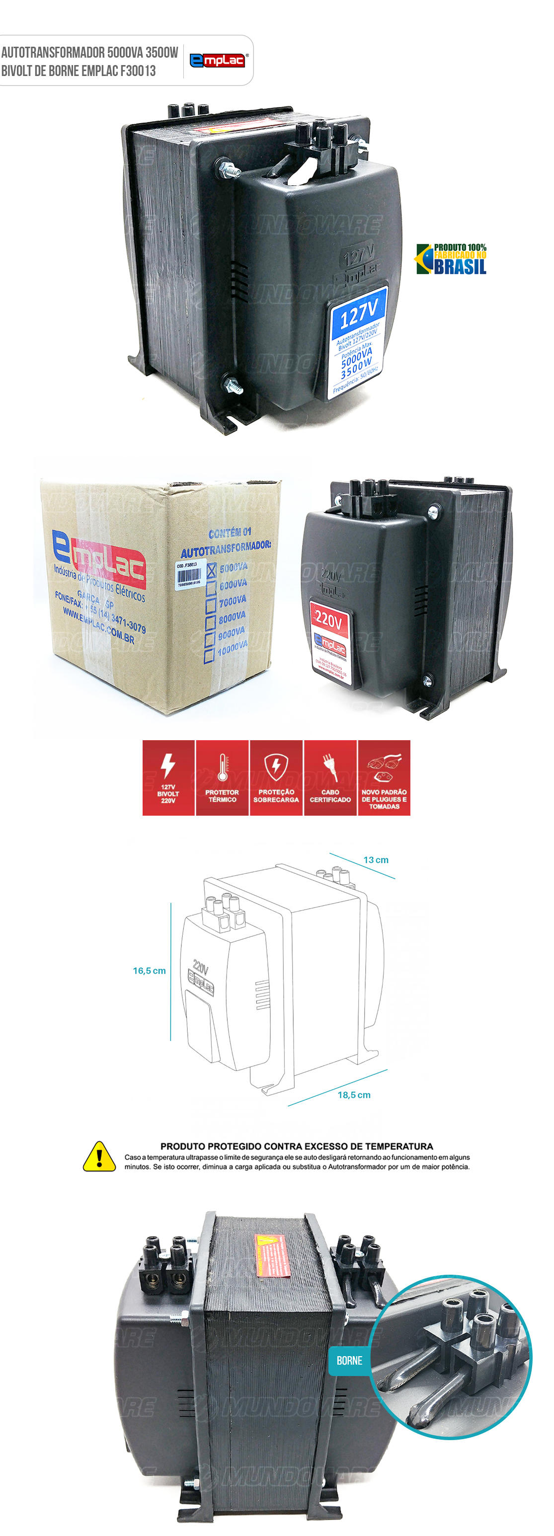Auto transformador de barra de borne 5000VA 3500W Bivolt com Protetor Térmico e Proteção contra sobrecarga
