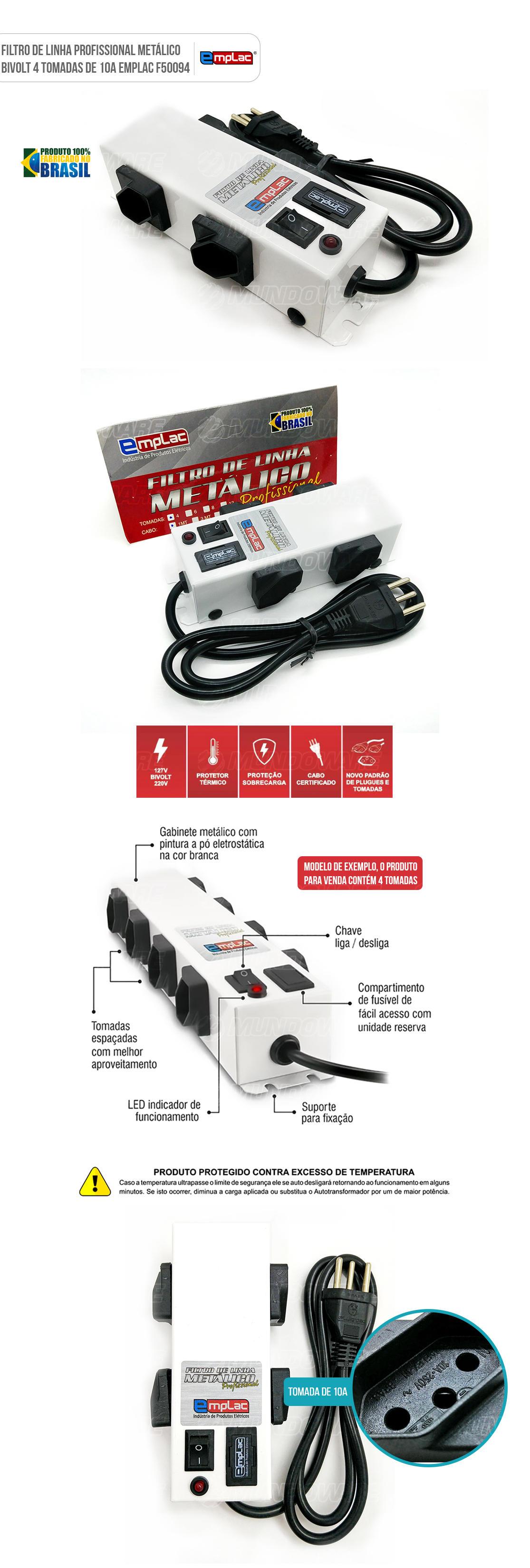 Régua de Energia Profissional Metálica Filtro de Linha 4 tomadas Bivolt Metalico 10A com Led indicador e botão de liga-desliga