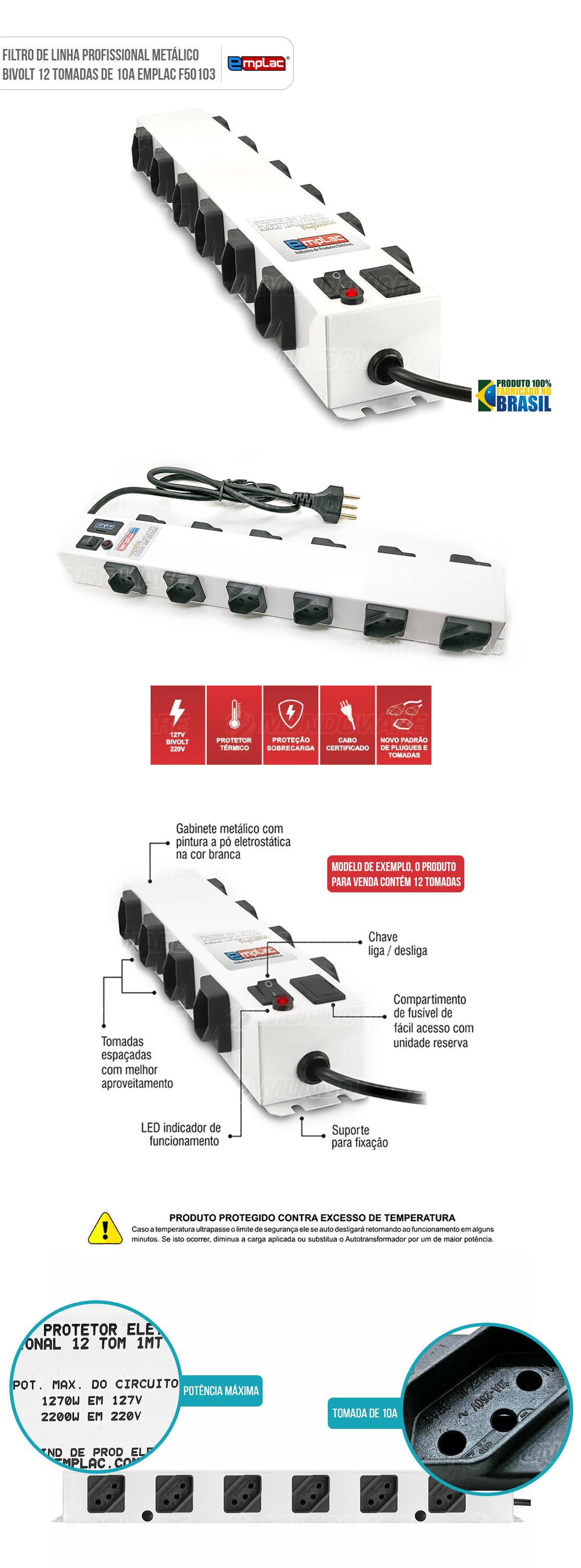 Filtro de Linha Régua com 12 tomadas Bivolt Metalico 10A com Led indicador e botão de liga-desliga
