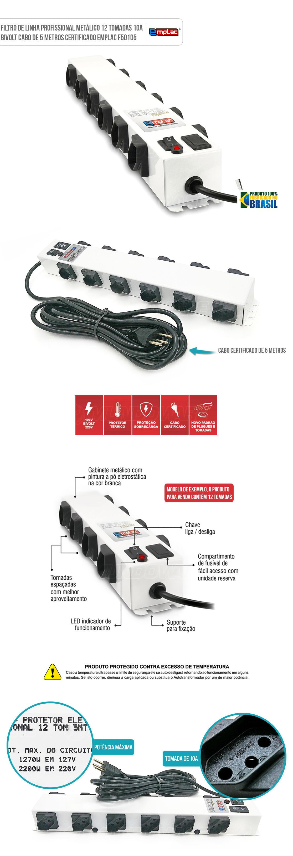 Filtro de Linha Régua com 12 tomadas Bivolt Metalico 10A com Led indicador e botão de liga-desliga cabo de 5 metros