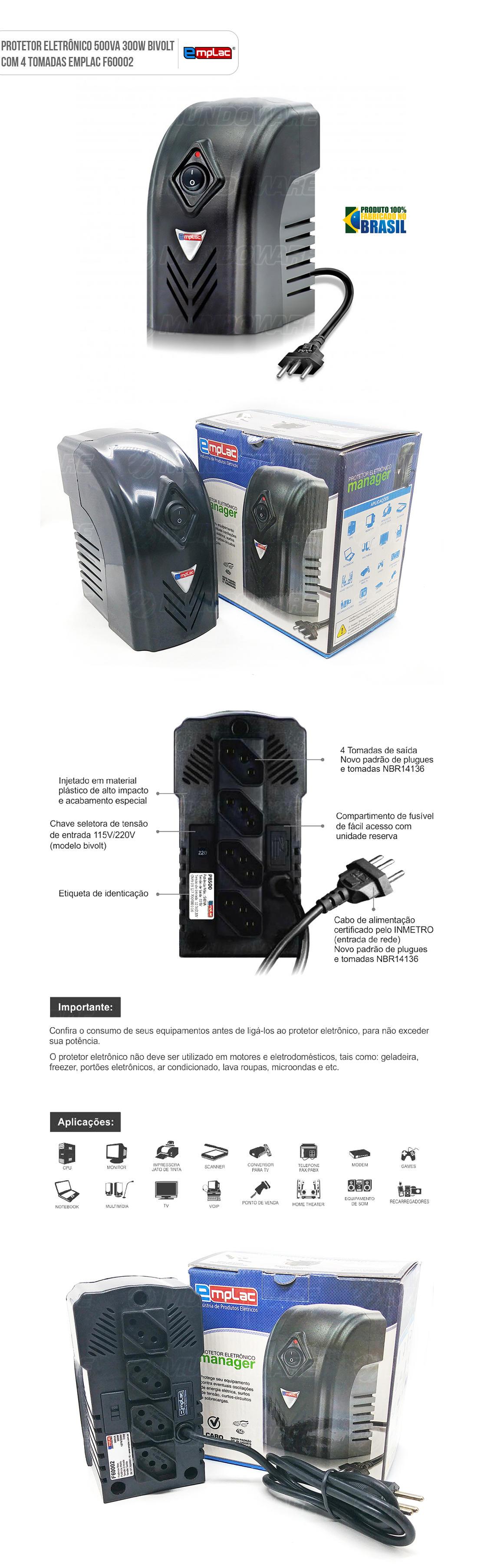 Protetor Eletrônico 500VA 300W 4 Tomadas Bivolt Emplac F60002