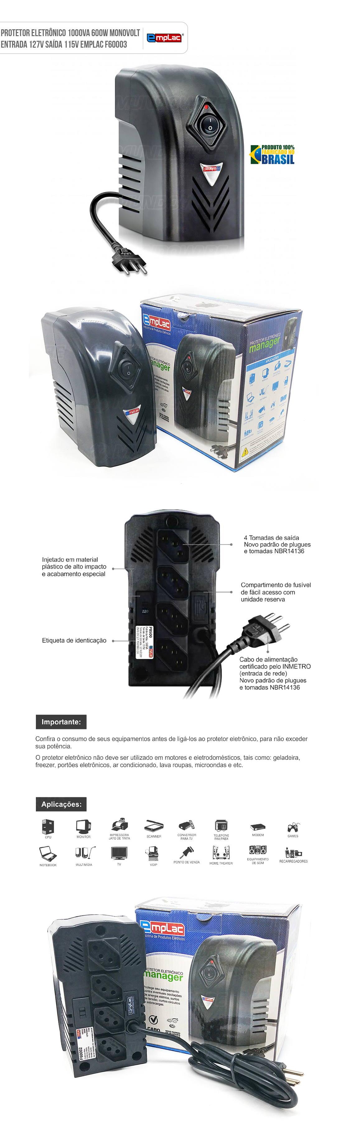 Protetor Eletrônico 1000VA 600W Monovolt Entrada 127V Saída 115V 4 Tomadas Emplac F60003