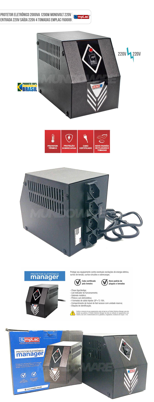 Protetor Eletrônico 220V 2000VA 1200W Mono E220V S220V 4 Tomadas 10A Cabo Certificado Gabinete Metálico Emplac F60009
