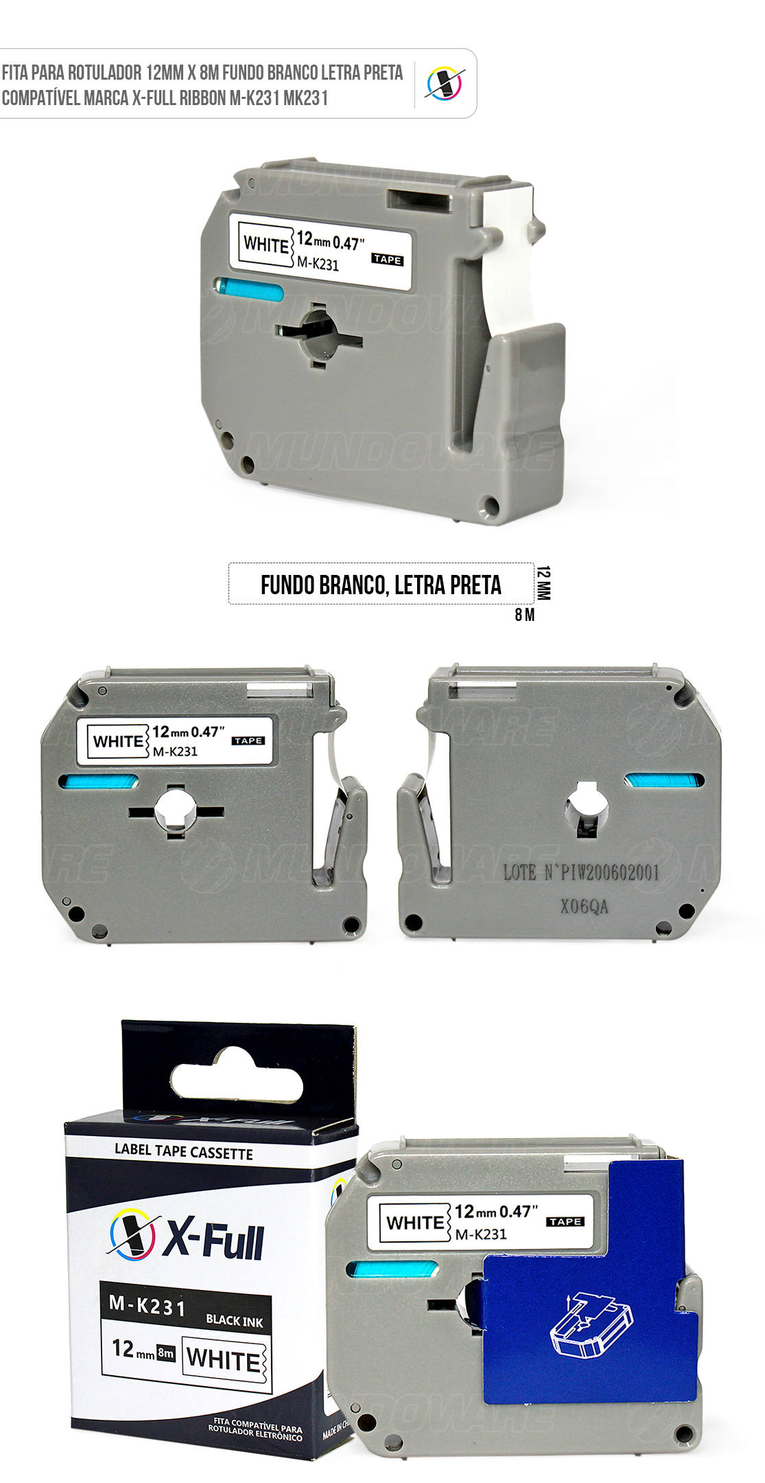 Fita Compatível para Rotulador Eletrônico 12mm x 8m Fundo Branco Letra Preta X-Full Ribbon M-K231 M231 MK231 para Brother PT-80 PT-70