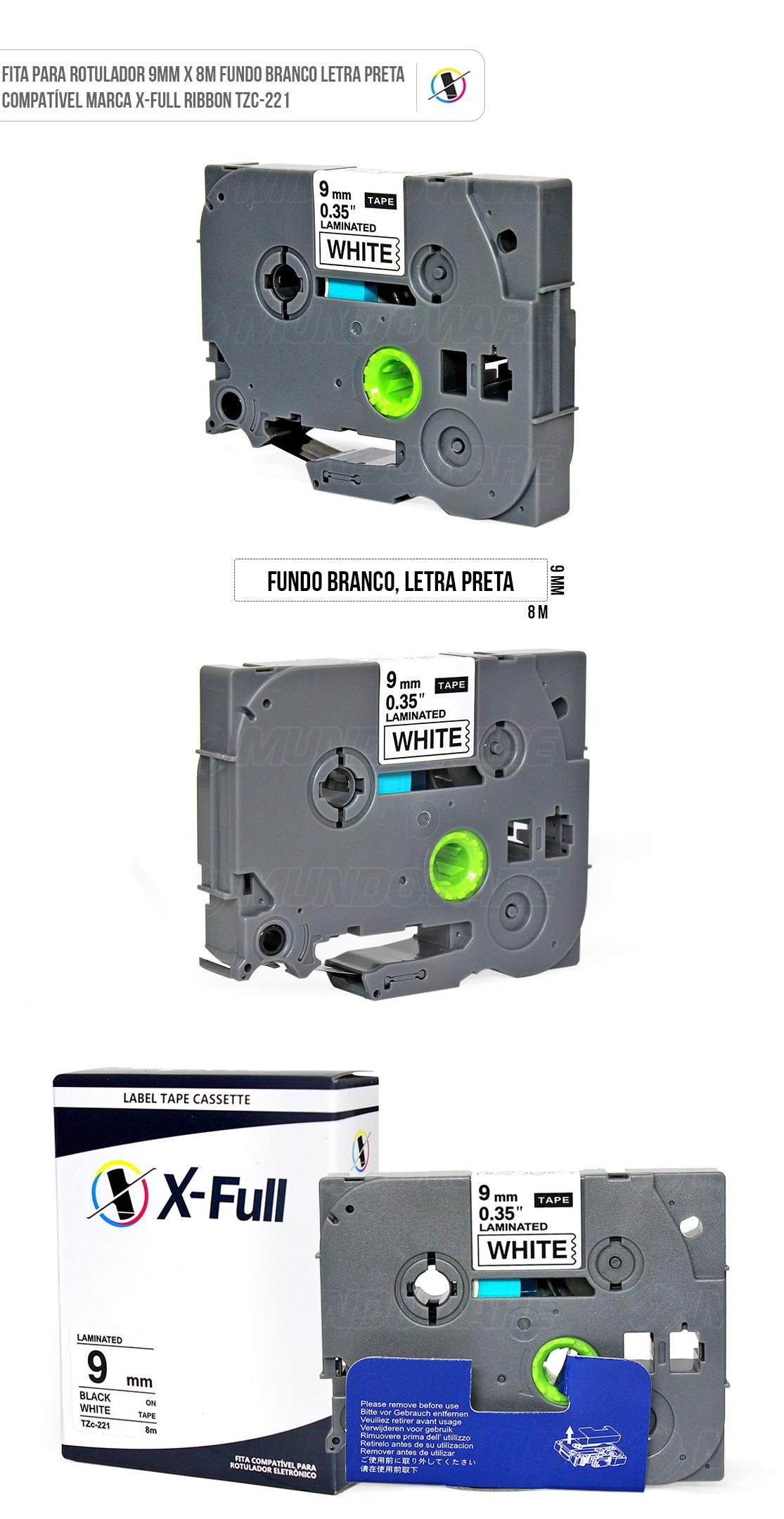 Fita Compatível para Rotulador Marca X-Full Referência TZc-221 TZ-221 TZe-221 Ribbon 9mm x 8m Branco/Preto para Brother