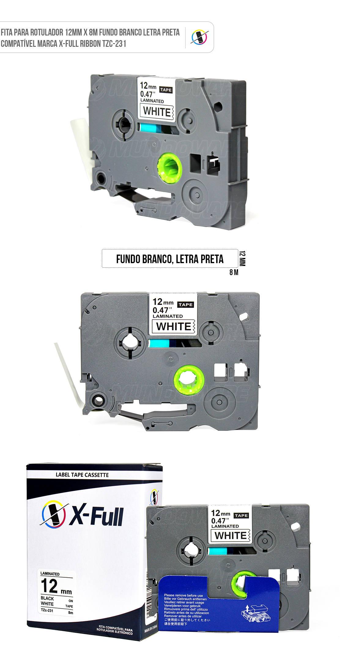 Fita Compatível para Rotulador Marca X-Full Referência TZc-231 TZe-231 TZ-231 12mm x 8m Branco/Preto para Brother