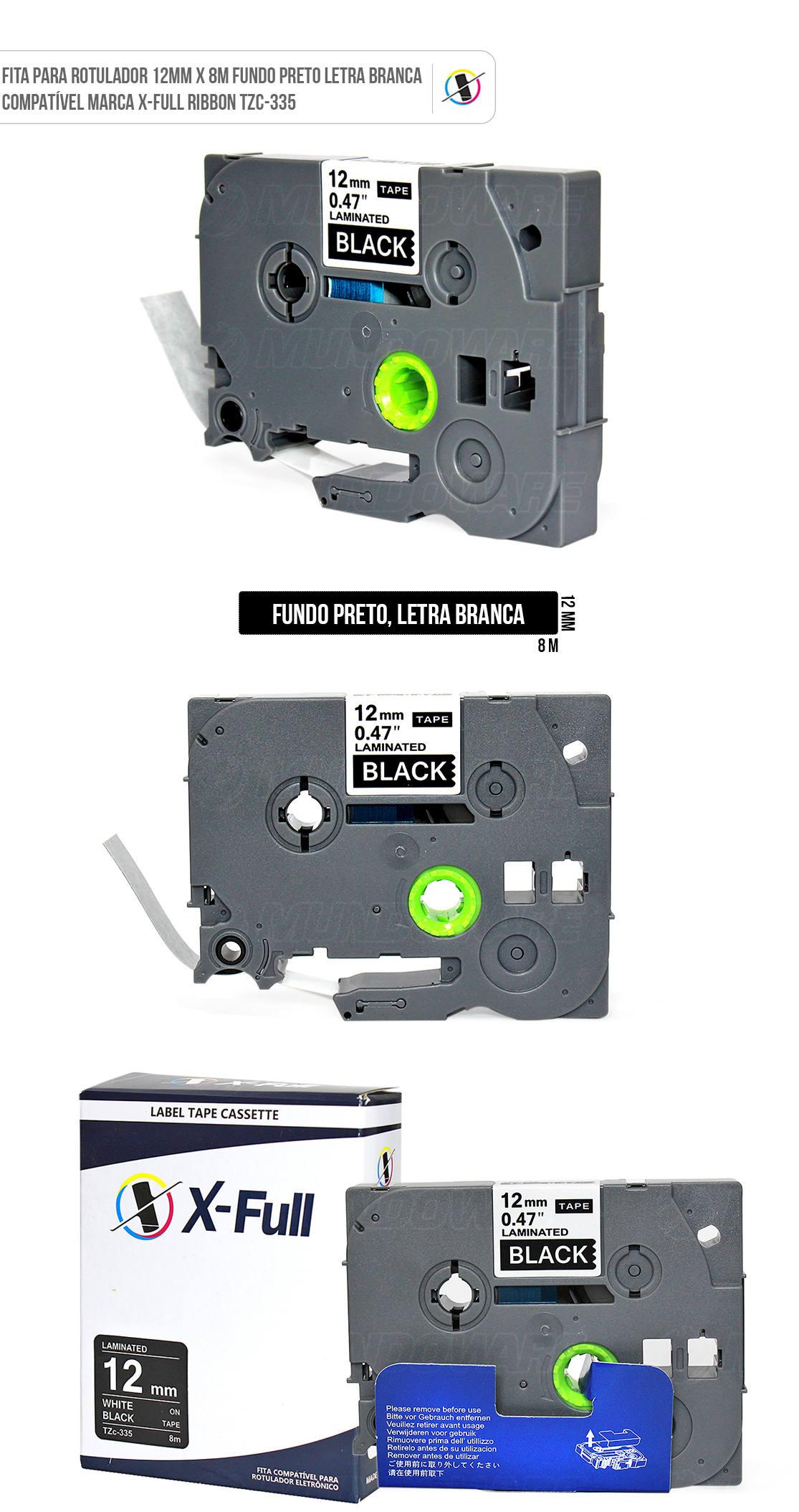 Fita Compatível para Rotulador Marca X-Full Ribbon Referência TZc-335 TZe-335 TZ-335 12mm x 8m Preto/Branco para Brother