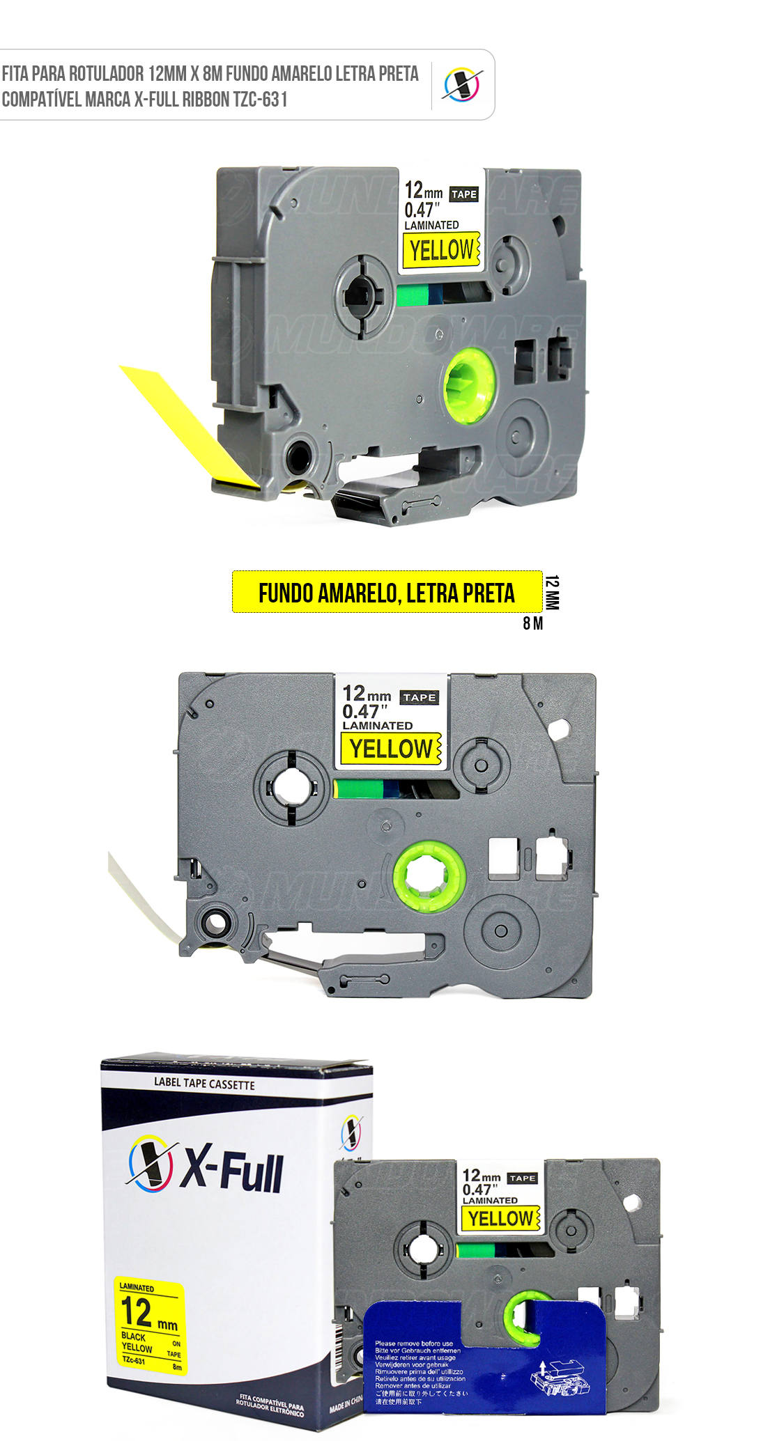 Fita Compatível para Rotulador Marca X-Full Ribbon Referência TZc-631 TZe-631 TZ-631 12mm x 8m Amarelo/Preto para Brother