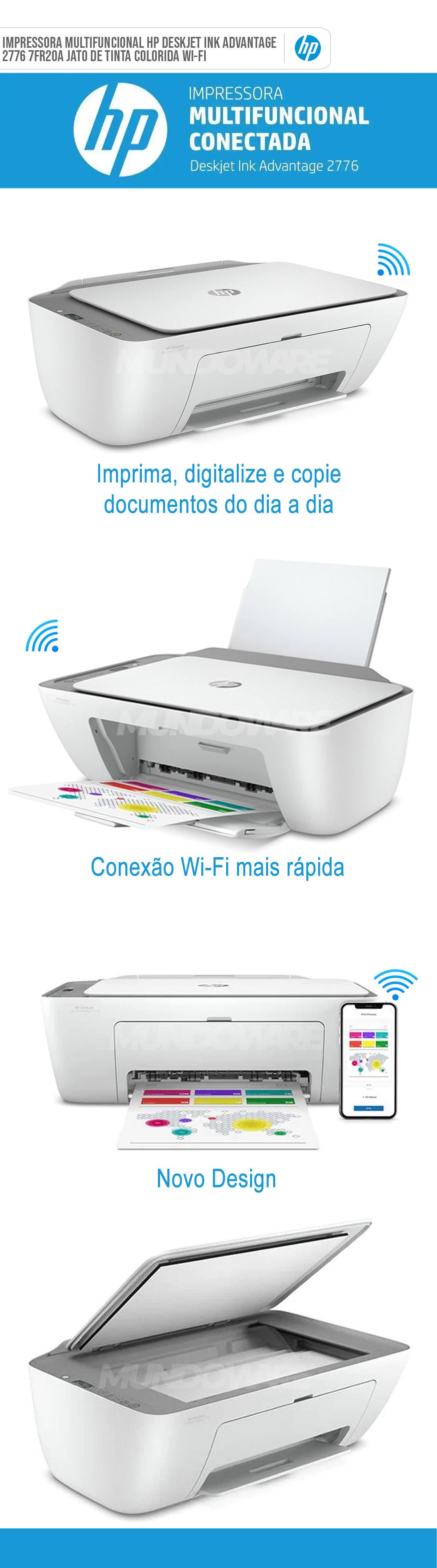 Impressora Multifuncional HP Deskjet Ink Advantage 2776 7FR20A Jato de Tinta Colorida Wireless