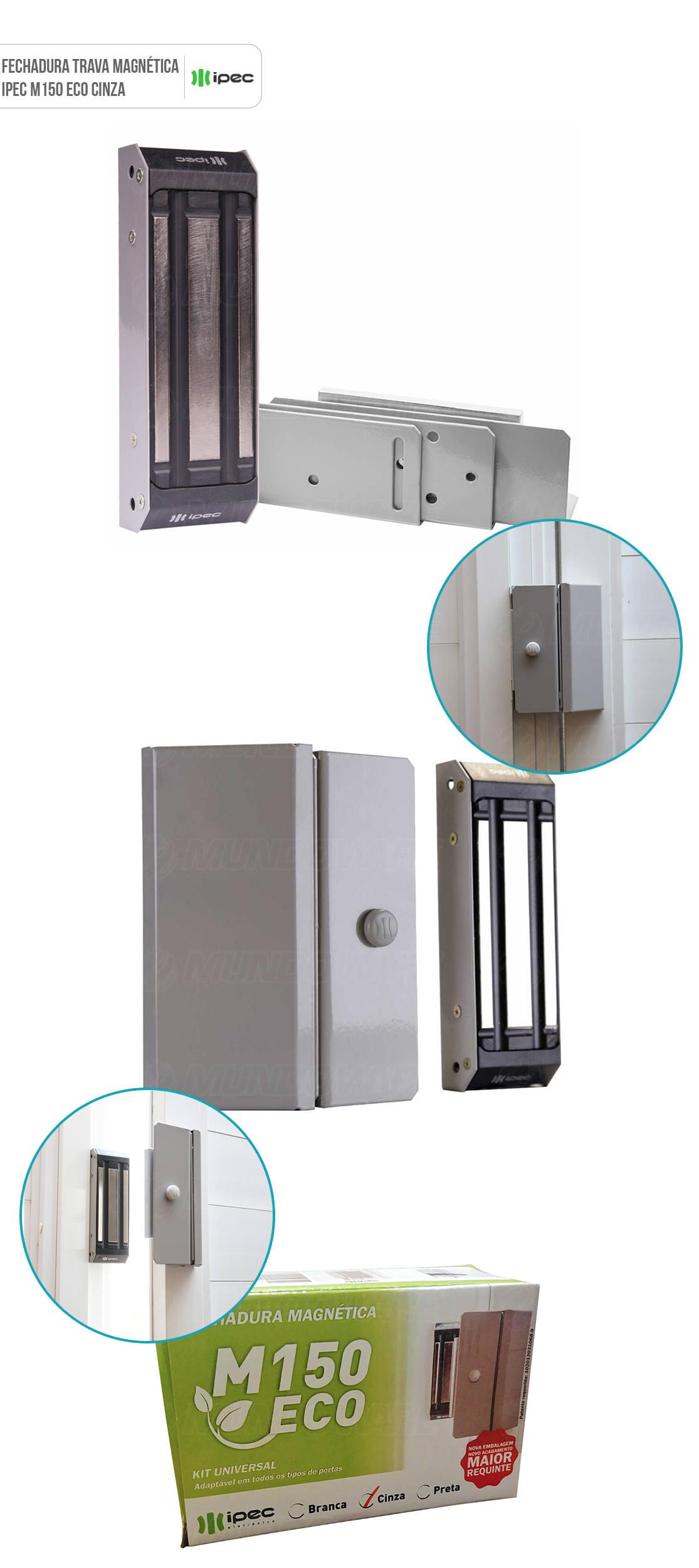 Fechadura Magnética Para Porta de Vidro Trava Eletromagnética Eletroimã 150 Kg Ipec M150 Eco A2077