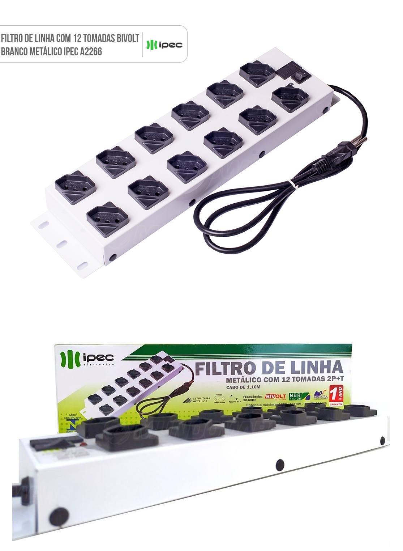 Filtro de Linha 12 Tomadas Espaçadas Bivolt 10A Metálico Ipec A2266 Branco