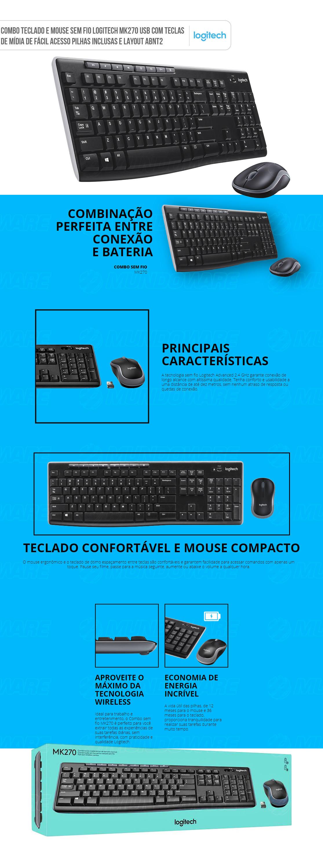Teclado e Mouse Sem Fio Logitech MK270 Wireless Com Teclas de Acesso Pilhas Inclusas Layout ABNT2 920-004433