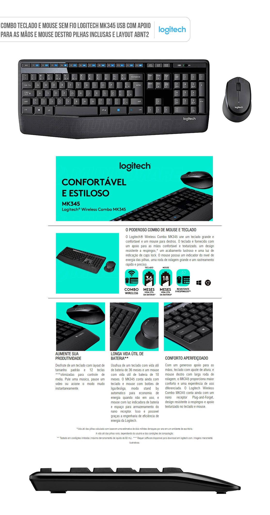 Combo Teclado e Mouse Sem Fio Logitech MK345 Wireless ABNT2 920-007821 Preto