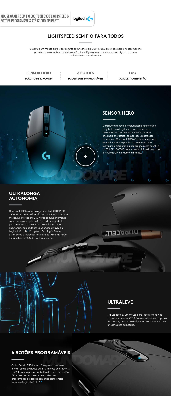 Mouse Gamer Sem Fio Logitech G305 LIGHTSPEED Sensor HERO 6 Botões Programáveis Até 12.000 DPI Preto 910-005281