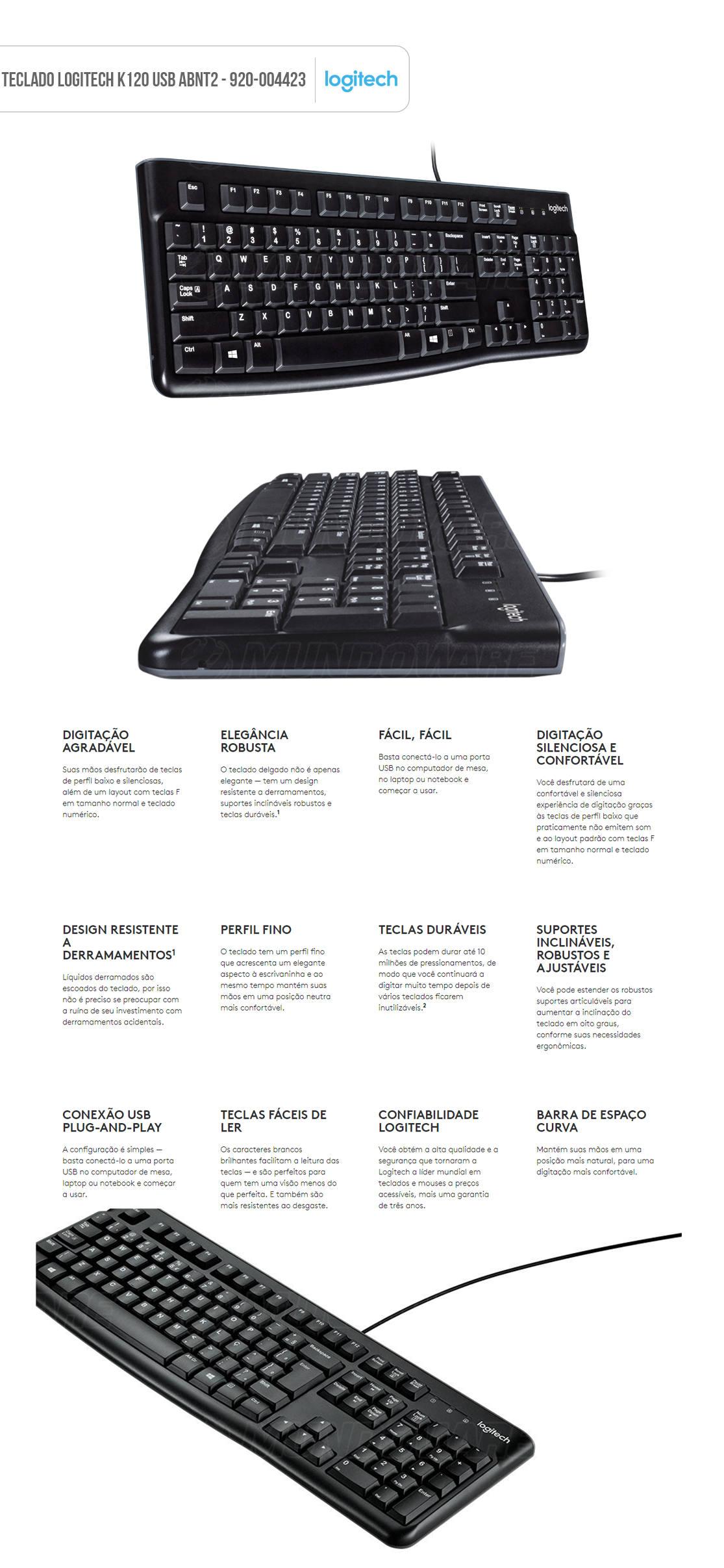 Teclado Logitech K120 com Fio USB ABNT2 Resistente à Respingos Digitação Silenciosa e Confortável Keyboard 920-004423