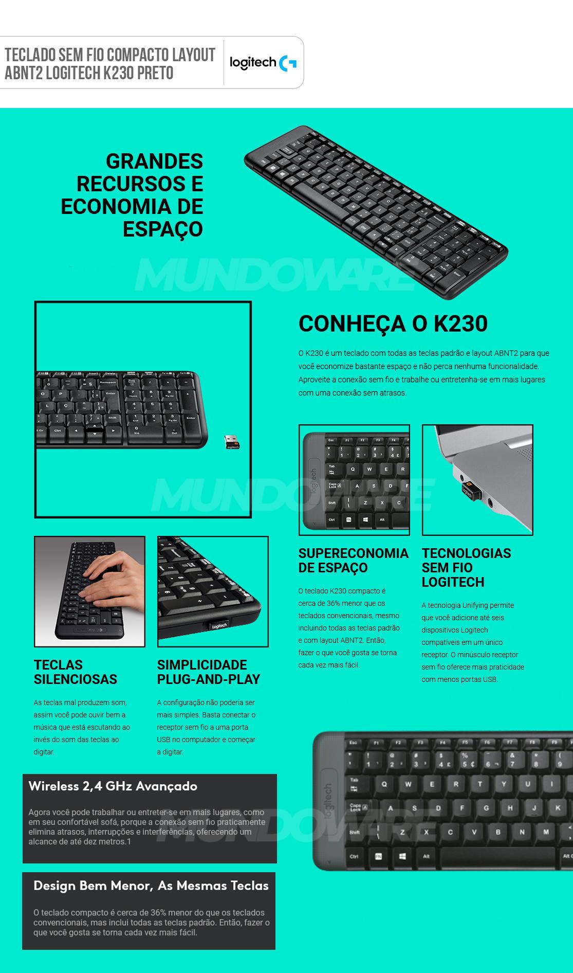 Teclado Pequeno Sem Fio Logitech K230 Compacto Pilhas Inclusas Layout ABNT2 920-004425