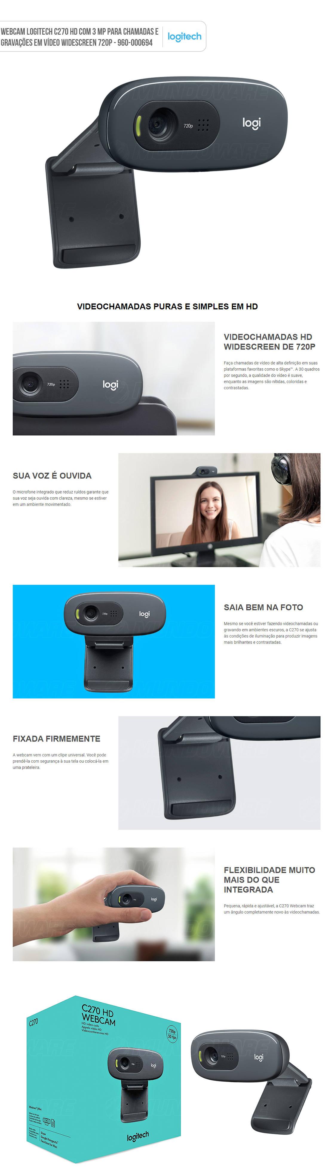 WebCam Logitech C270 HD 3 MP para Chamadas e Gravações em Vídeo Widescreen 720p com Microfone Embutido 960-000694