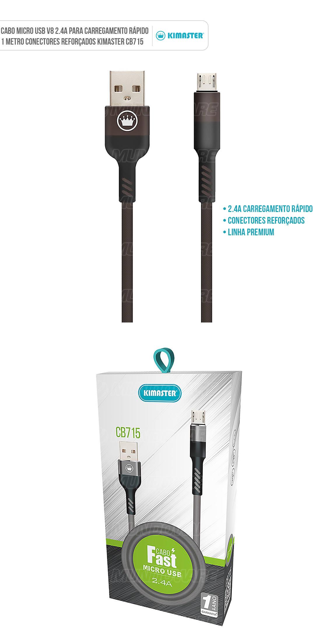 cabo usb microusb v8 para celular cb715