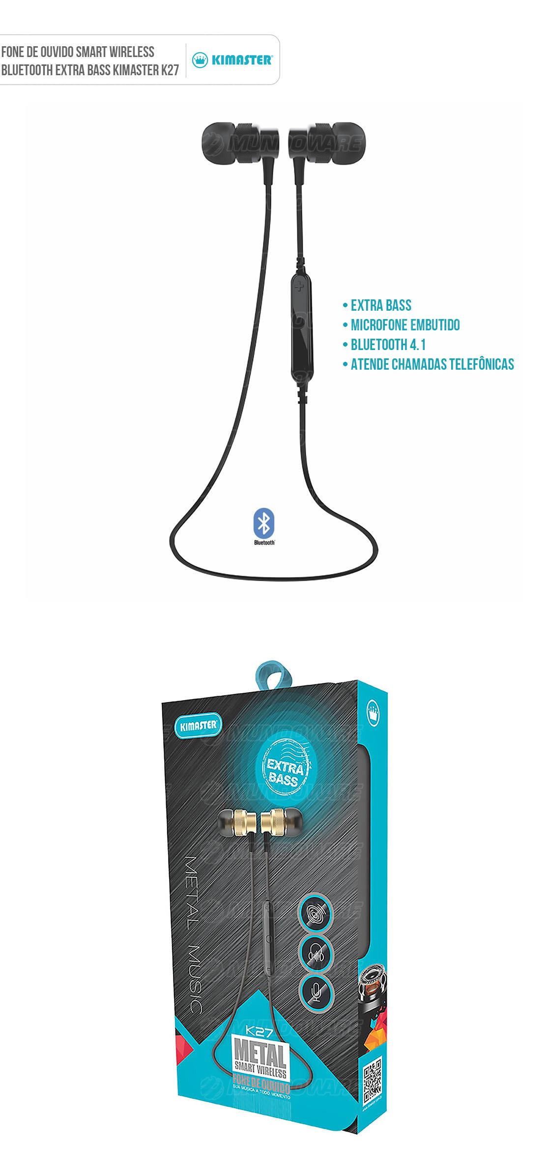 Fone Bluetooth Metal Smart Wireless Extra Bass Microfone Embutido Kimaster K27