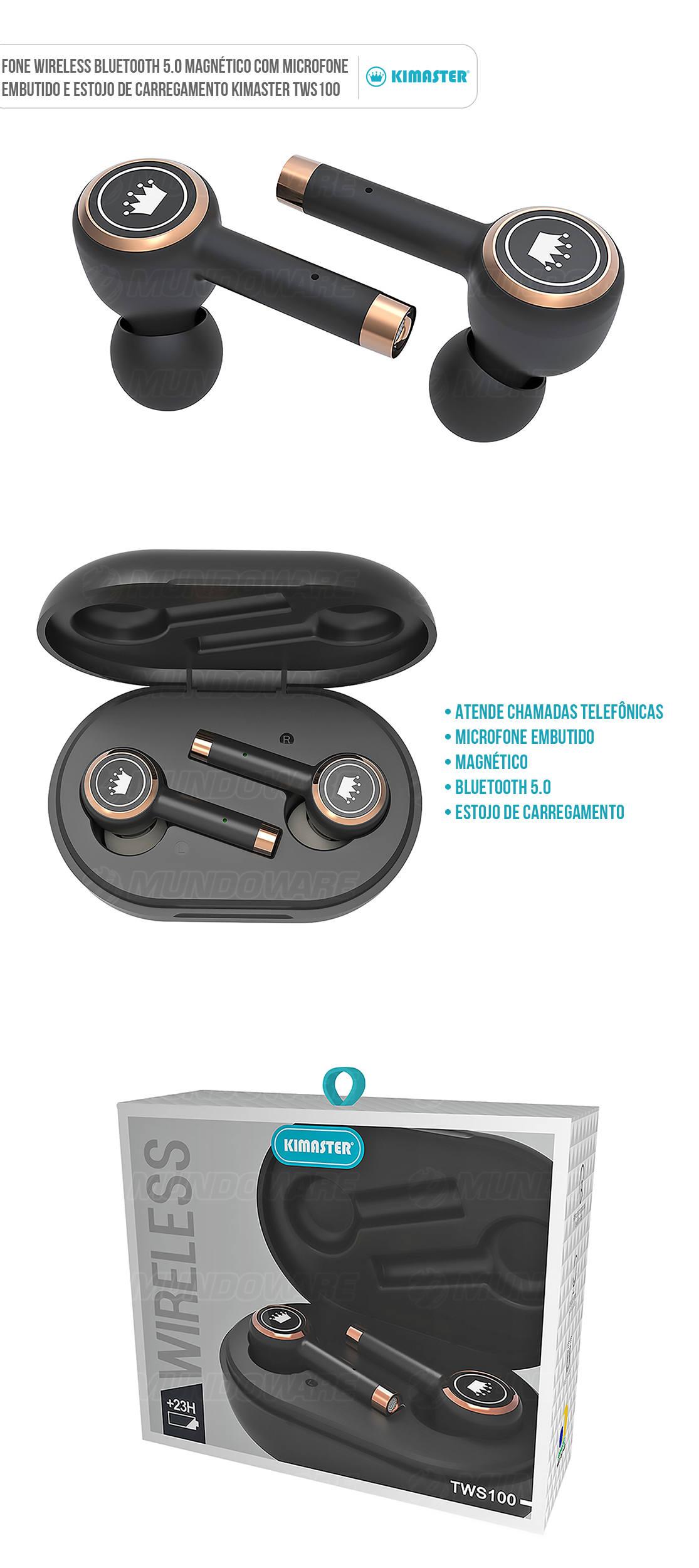 Fone de Ouvido Wireless Bluetooth com Estojo de Carregamento Preto