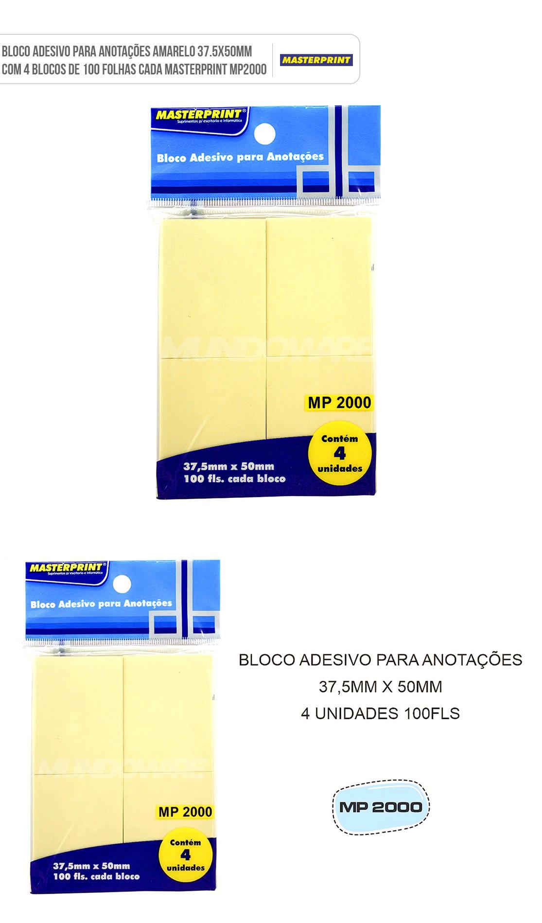 Bloco Adesivo para Anotações Amarelo 37.5x50mm com 4 Blocos de 100 Folhas cada Masterprint MP2000