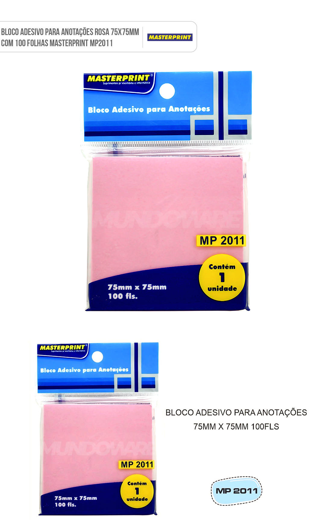 Bloco Adesivo para Anotações Rosa 75x75mm com 100 Folhas Masterprint MP2011
