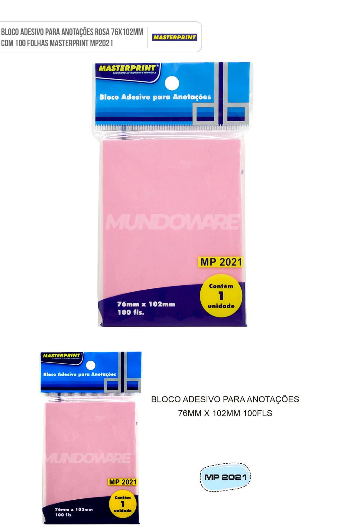 Bloco Adesivo para Anotações Rosa 76x102mm com 100 Folhas Masterprint MP2021
