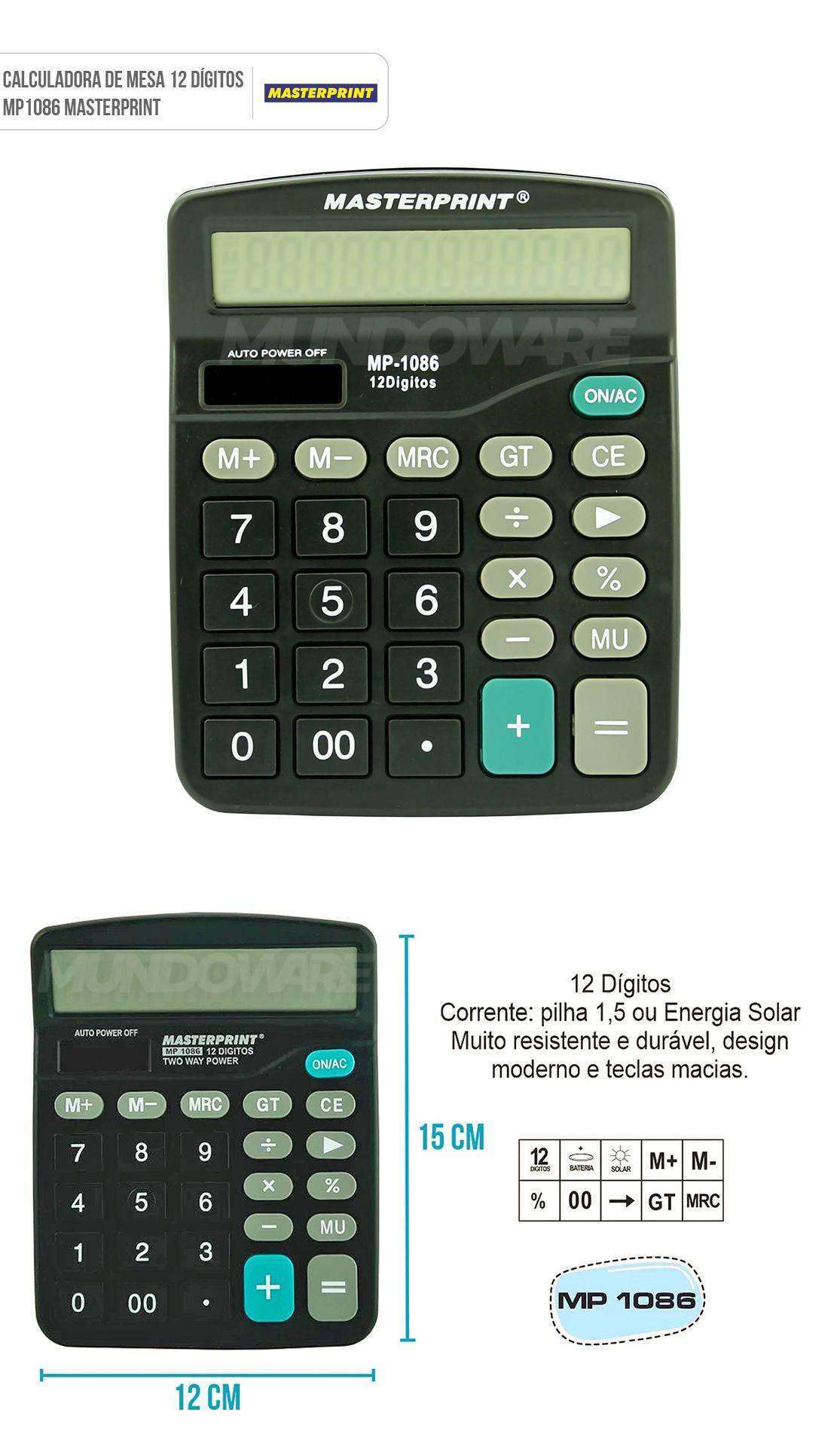 Calculadora de Mesa 12 Dígitos MP1086 MasterPrint