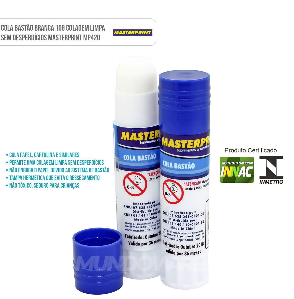 Cola Bastão Branca 10g Colagem Limpa sem Desperdícios Masterprint MP420