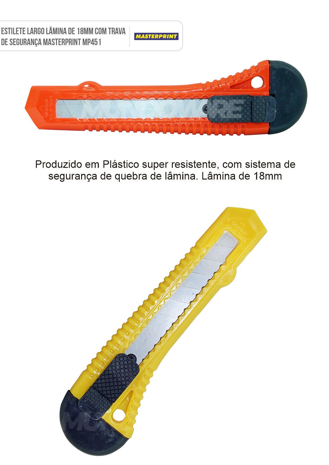 Estilete Largo Lâmina de 18mm com Trava de Segurança Masterprint MP451