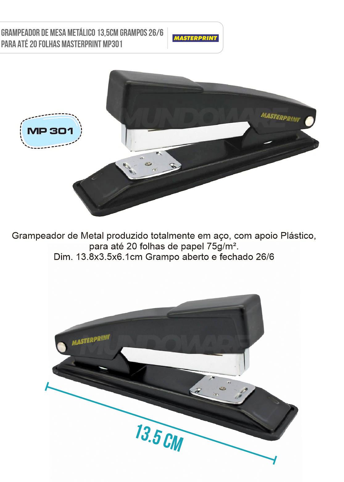 Grampeador Metálico 13,5cm Grampos 26/6 para até 20 Folhas Masterprint MP301