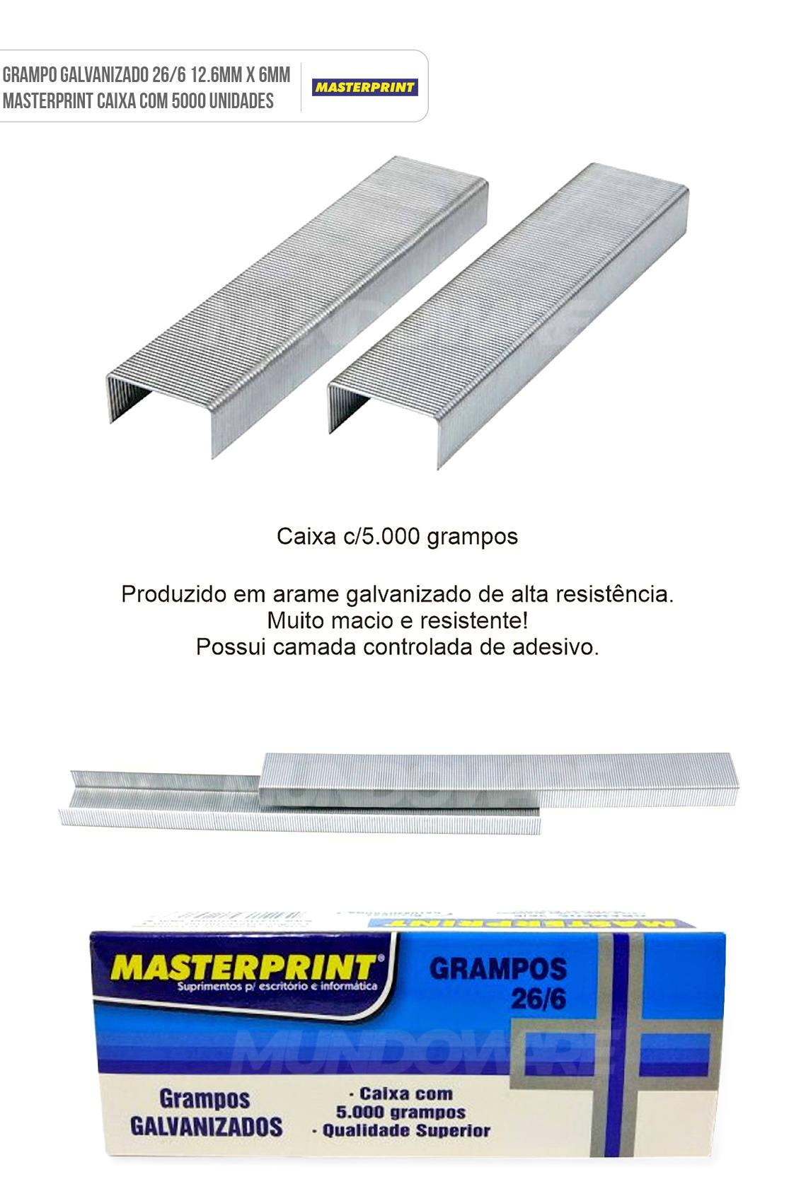 Grampo Galvanizado 26/6 12.6mm x 6mm Masterprint Caixa com 5000 Unidades
