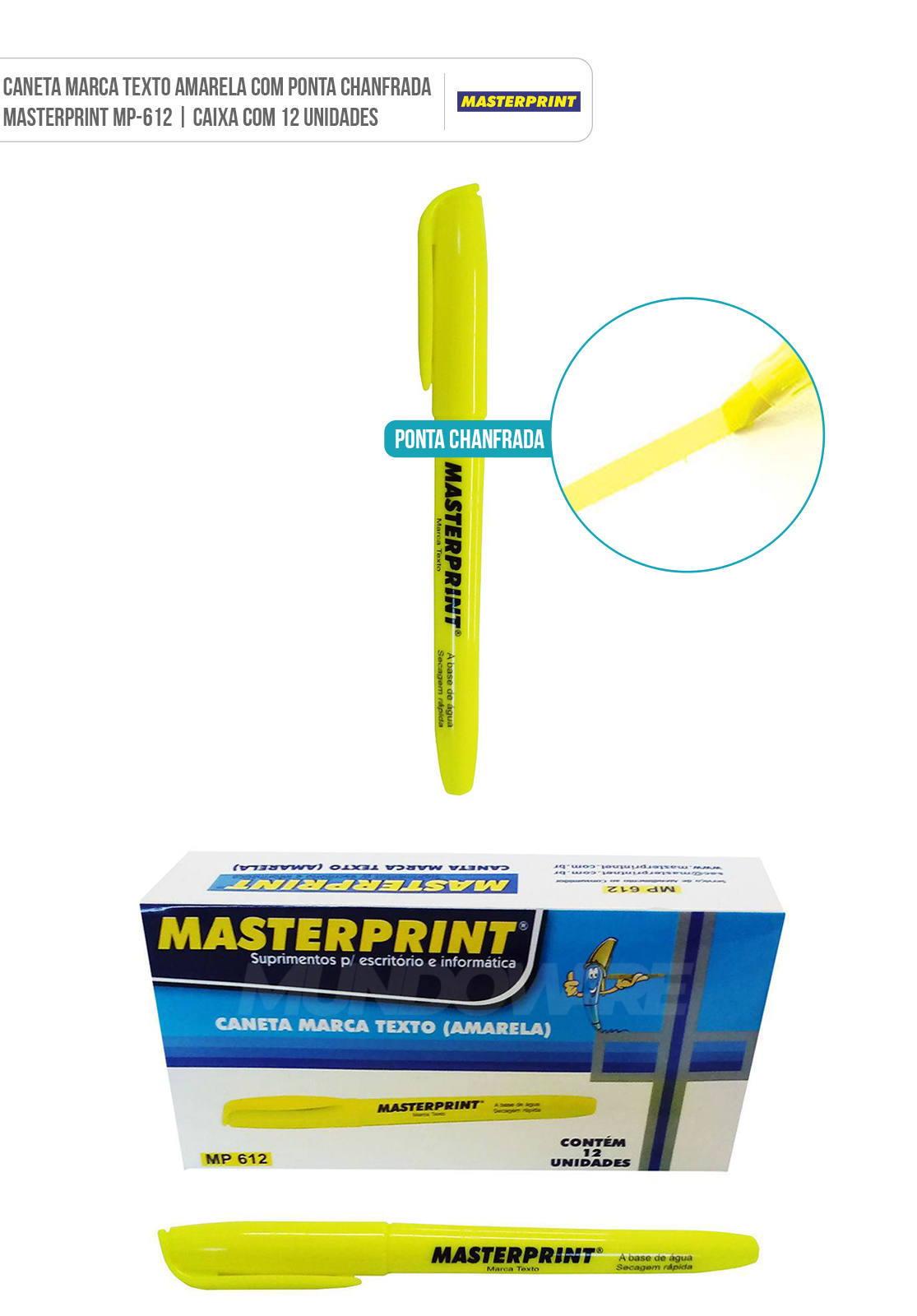 Pincel Marca Texto Caneta Amarela para marcar texto com ponta chanfrada