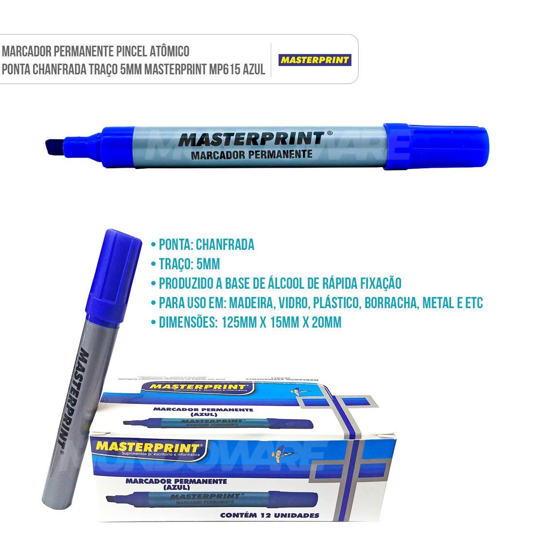 Marcador Permanente Pincel Atômico Ponta Chanfrada Traço 5mm Masterprint MP615 Azul