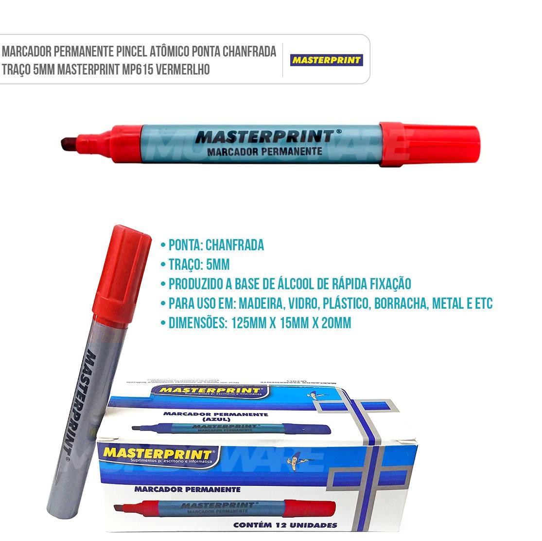 Marcador Permanente Pincel Atômico Ponta Chanfrada Traço 5mm Masterprint MP615 Vermelho