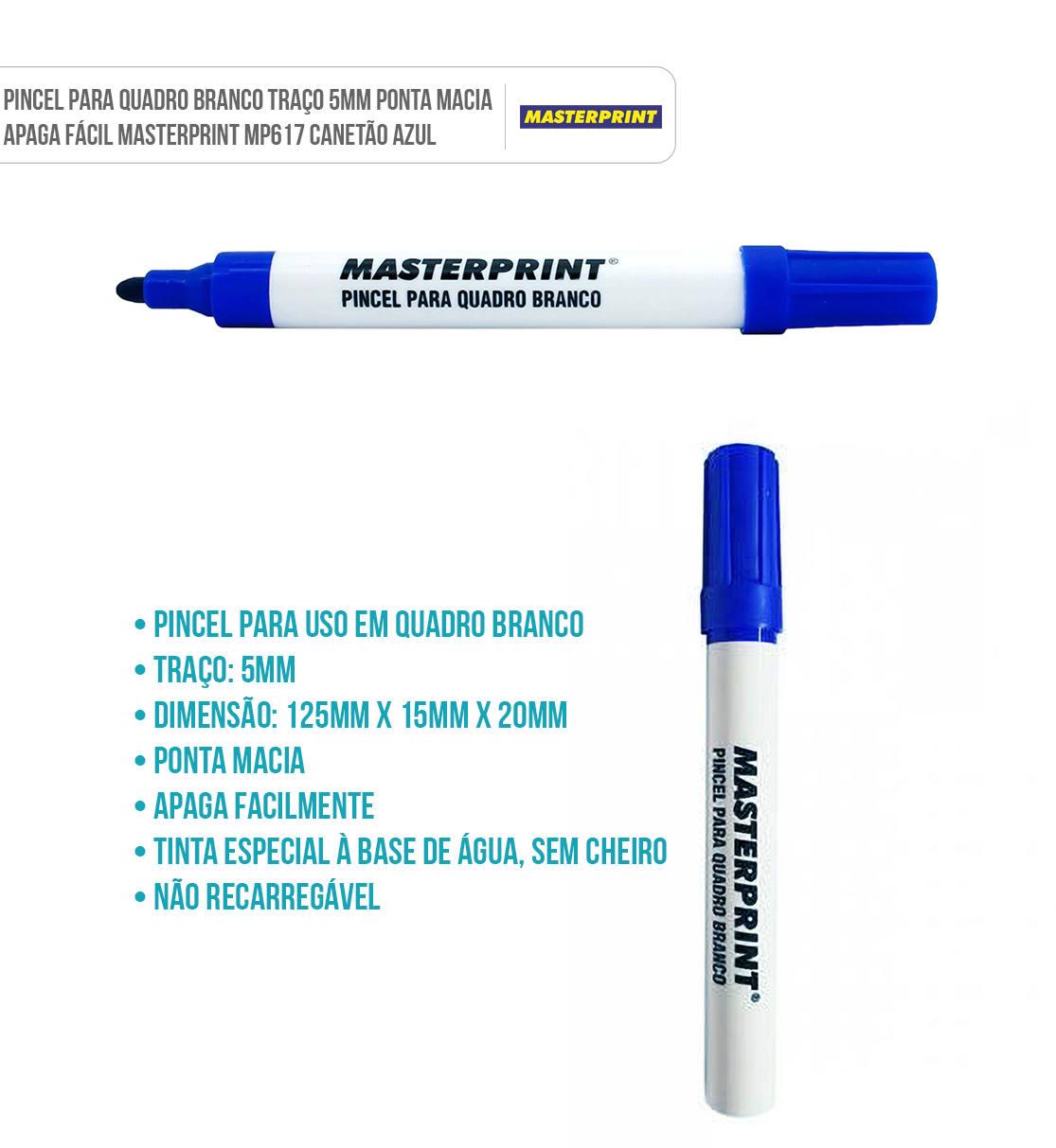Canetão Pincel para Quadro Branco Traço 5mm Ponta Macia Masterprint MP617 Azul