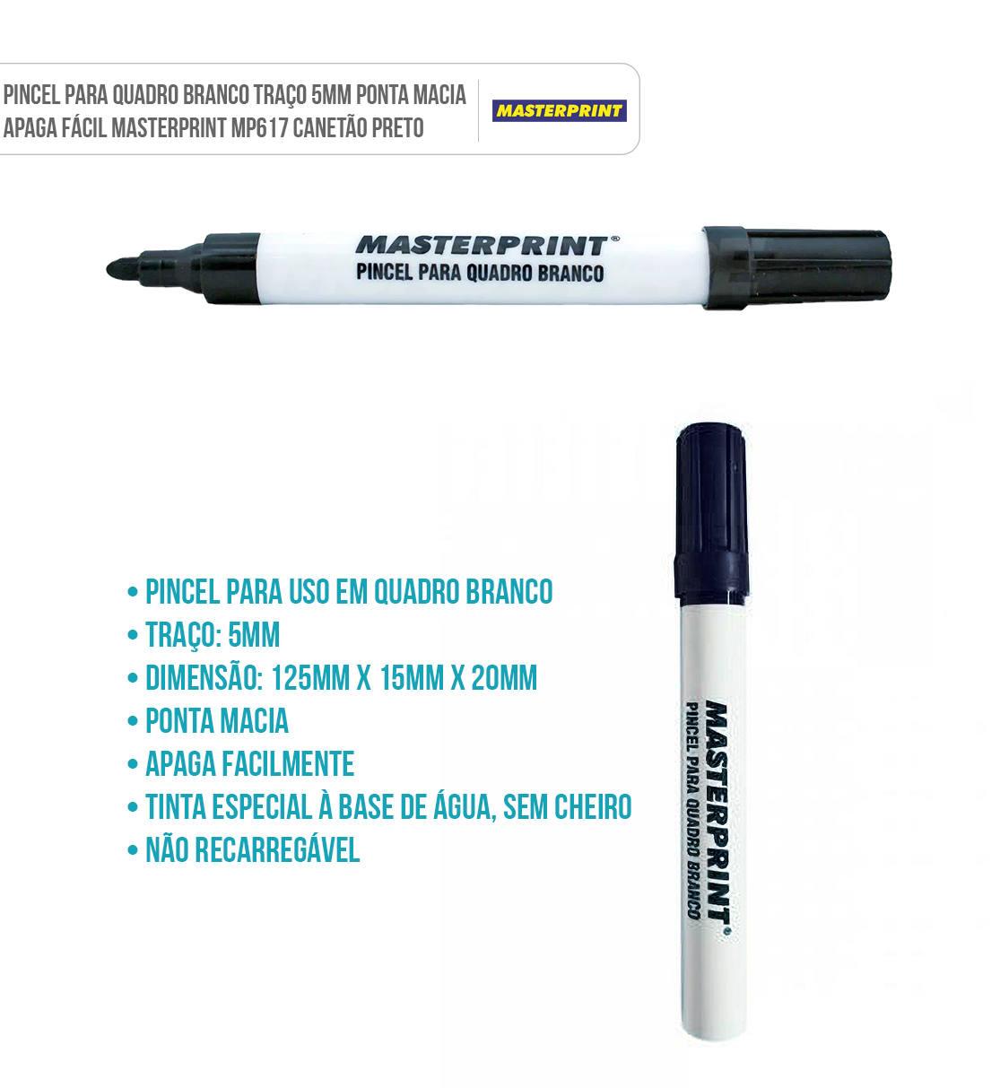 Canetão Pincel para Quadro Branco Traço 5mm Ponta Macia Masterprint MP617 Preto
