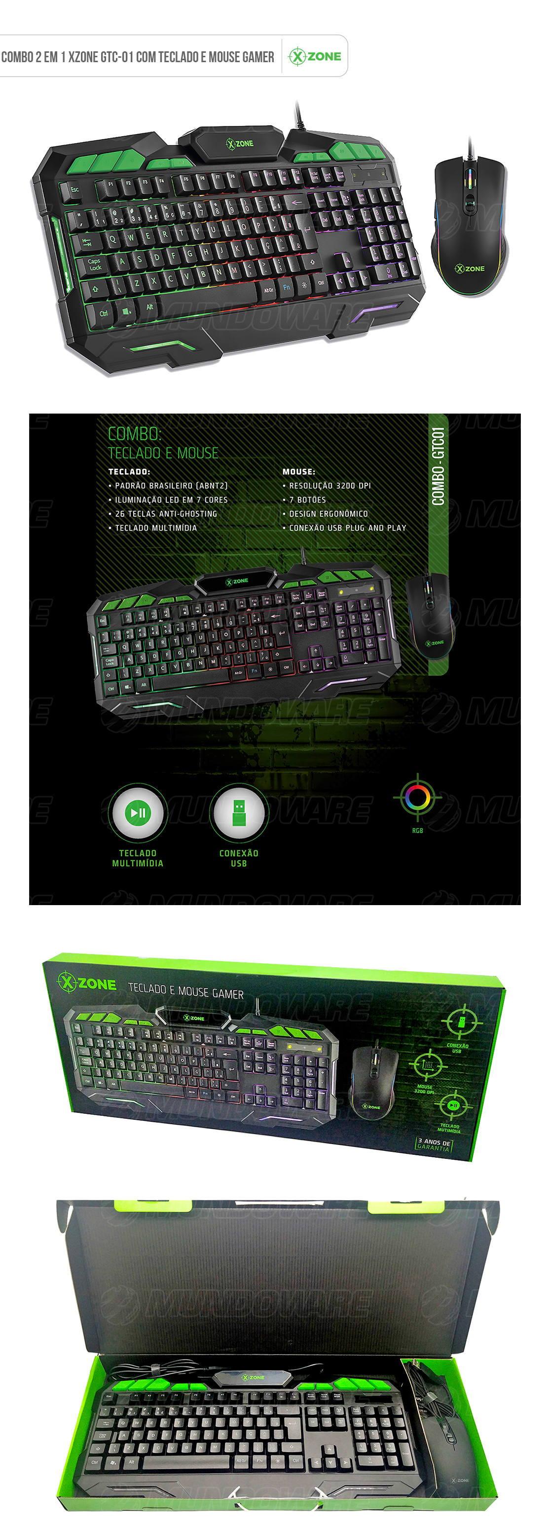 Combo Gamer 2 em 1 Teclado + Mouse USB ABNT2 LED 7 Cores 26 Teclas Anti-Ghosting 3200DPI 7 Botões X-Zone GTC-01