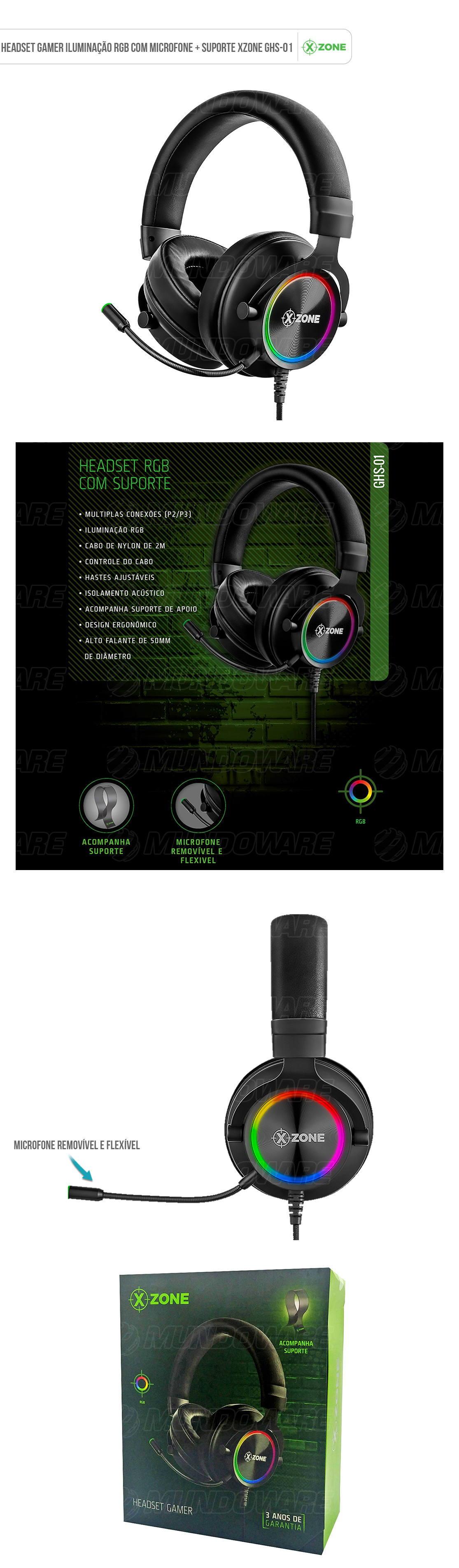 Headphone Gamer RGB com suporte para apoio Isolamento Acústico Microfone flexível Removível para PC XBOX PS4 Celular