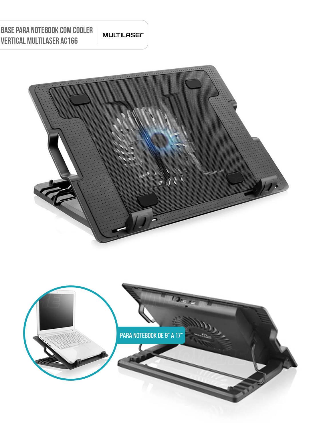 Base para Notebook de 9 a 17 com Cooler Superfície em Metal 4 Ângulos de Inclinação 2 Portas USB Multilaser AC166