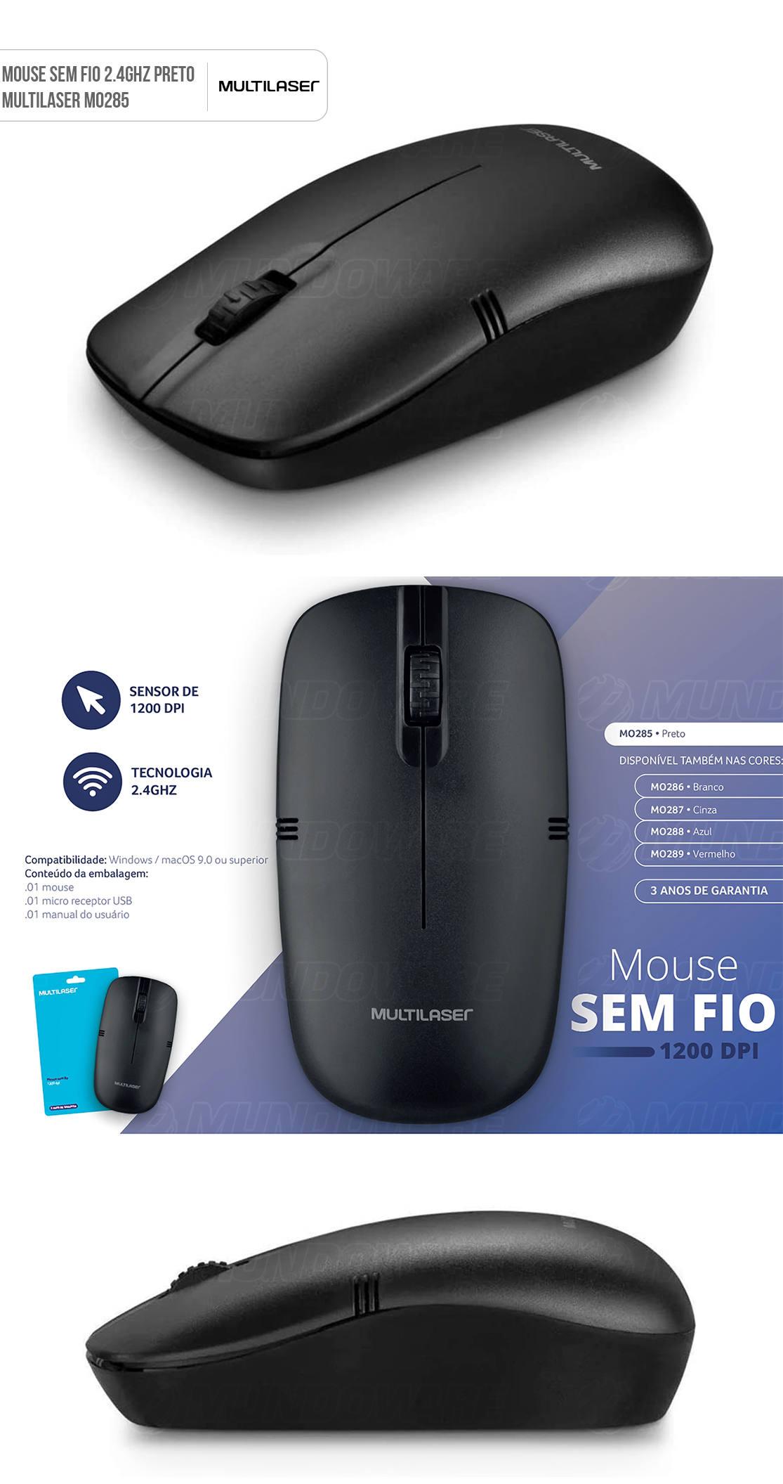 Mouse Sem Fio 1200DPI 2.4GHZ USB Preto Multilaser MO285