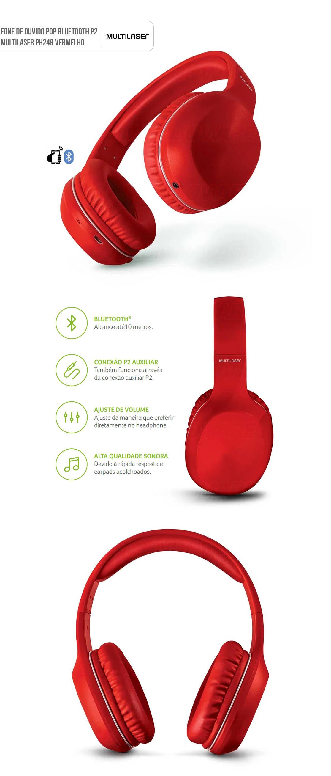 Fone De Ouvido Pop Bluetooth com Microfone Hands Free Earpads Extra Macios Acolchoados Vermelho Multilaser PH248