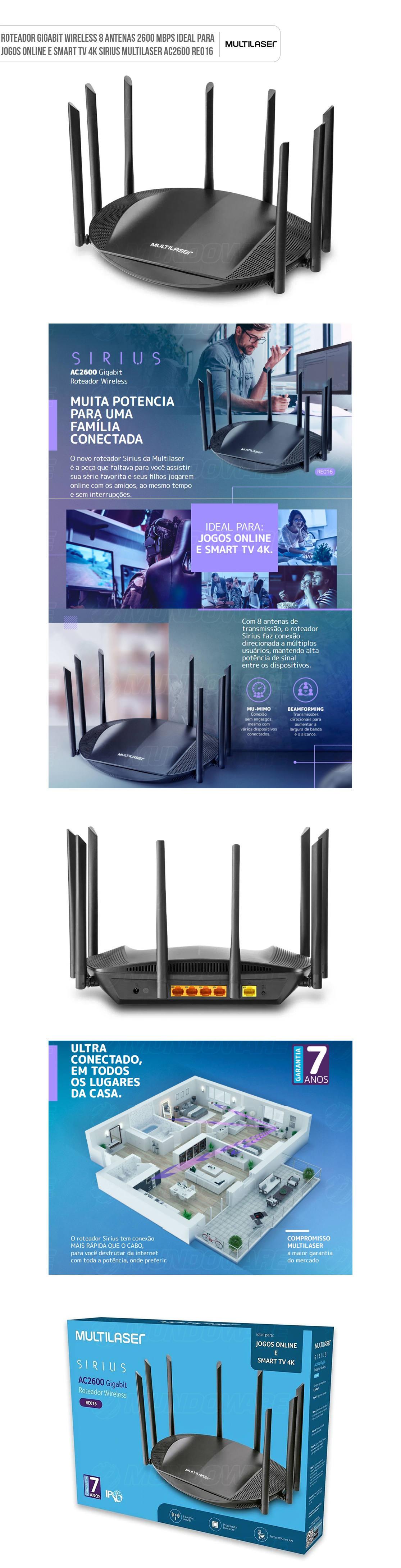 Roteador Wireless 8 Antenas 2600Mbps Gigabit Dual Band Ideal para Jogos Online e Smart TV 4K Sirius AC2600 Sem Fio REO16