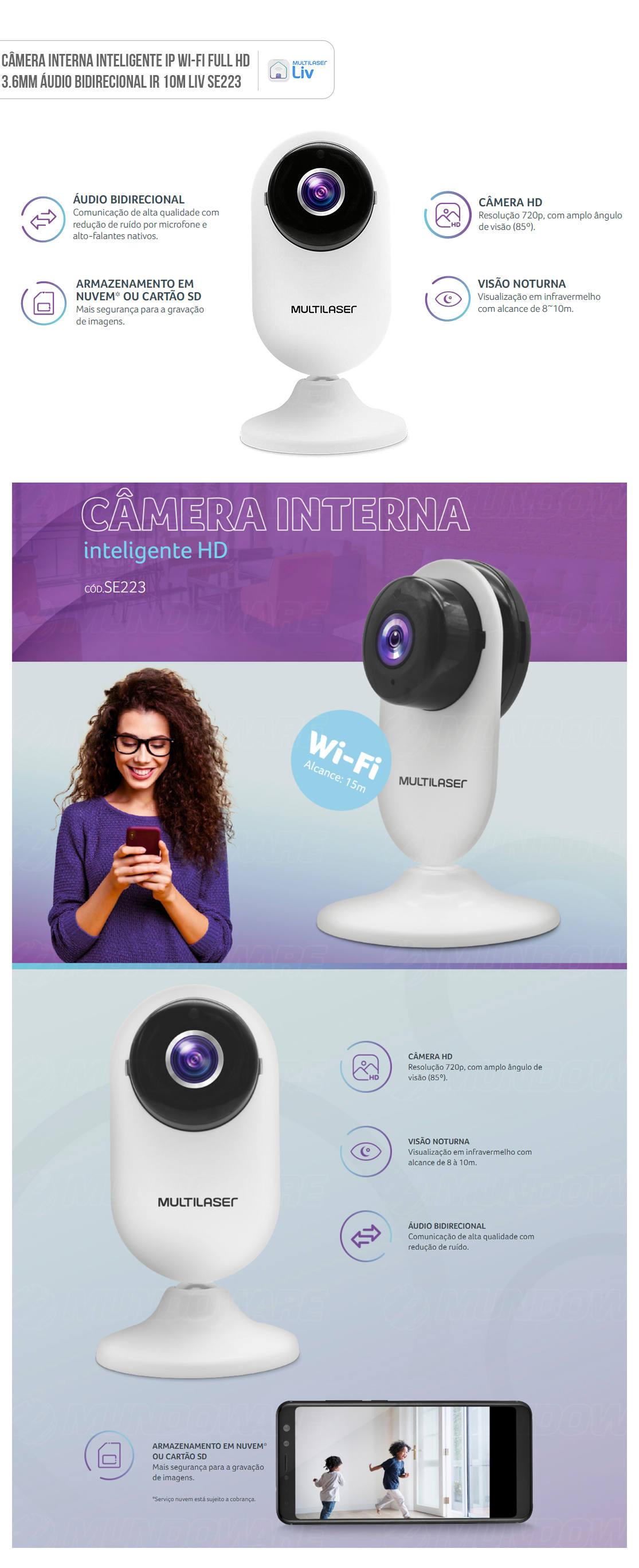 Câmera IP Interna Inteligente Wi-Fi Full HD 3.6mm Áudio Bidirecional IR 10m Liv SE223