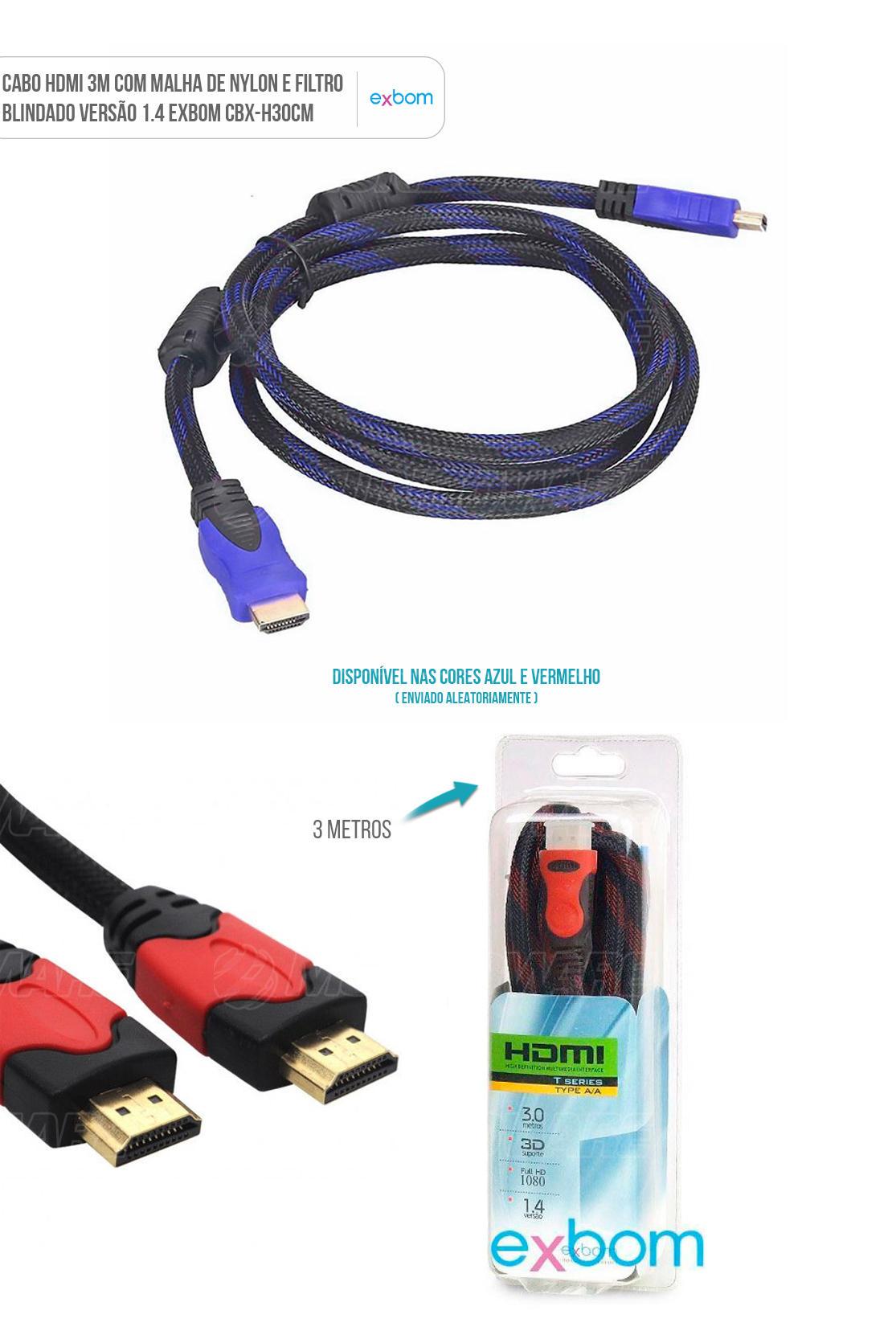 Cabo HDMI com Malha e Filtro Blindado de 3m